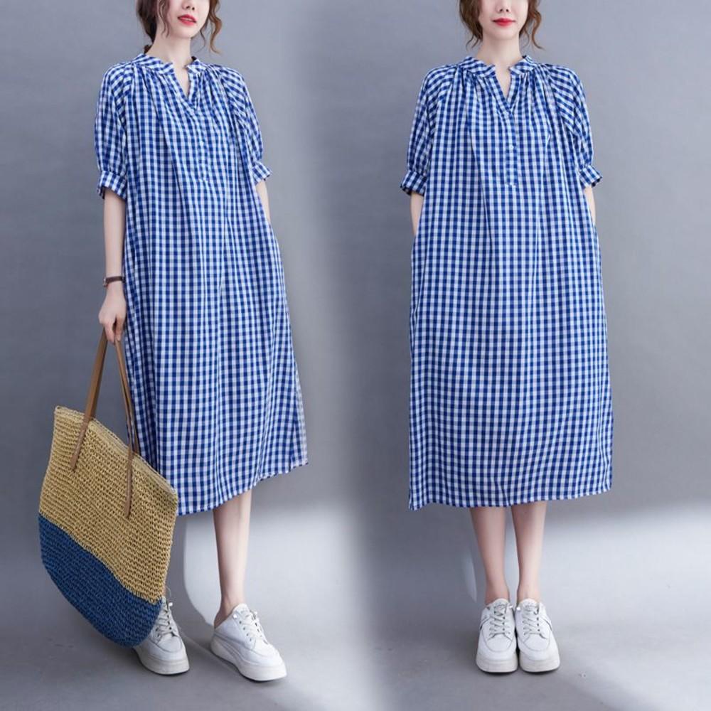 D7118-實拍 文藝 寬鬆 格子洋裝【D7118】V領 格子 中長款 洋裝 連衣裙