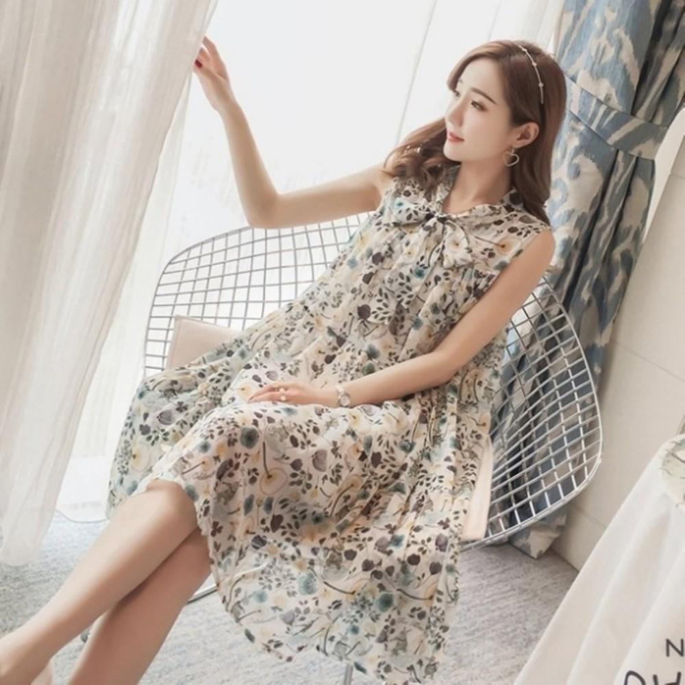 碎花小洋裝 雪紡洋裝【D7129】 韓系 無袖 孕婦裝 洋裝 孕婦洋裝 晚宴 實品拍攝