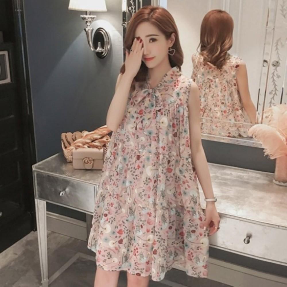 D7129-碎花小洋裝 雪紡洋裝【D7129】 韓系 無袖 孕婦裝 洋裝 孕婦洋裝 晚宴 實品拍攝