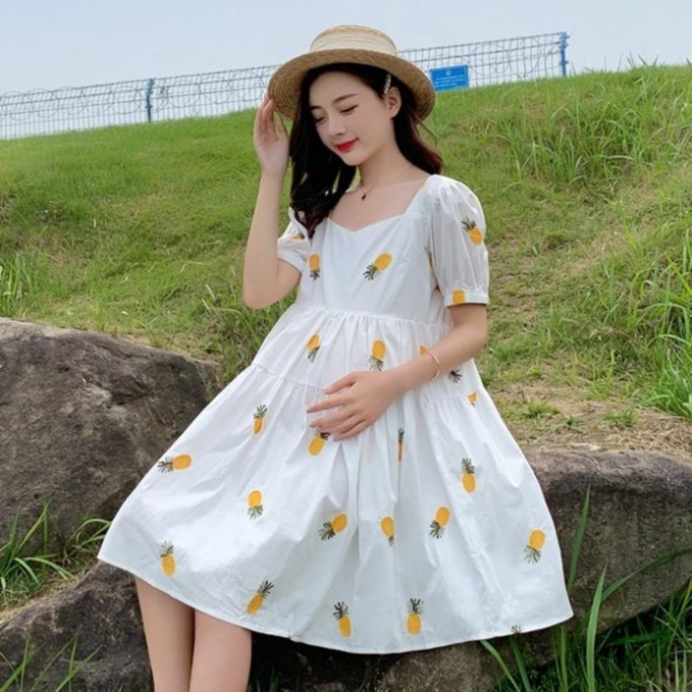 韓式 繡花 洋裝 【D7201】 PINEAPPLE 刺繡 鳳梨 水果 短袖 洋裝 孕婦裝