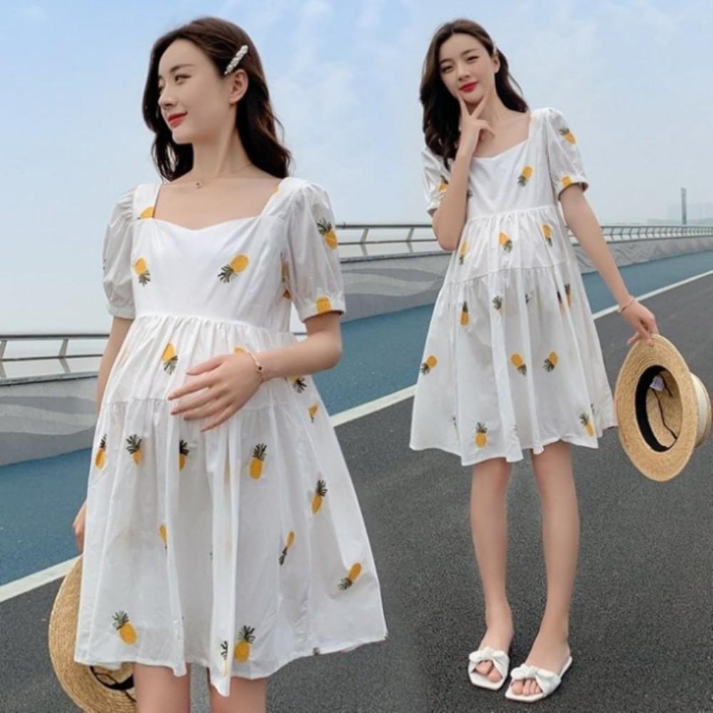 D7201 - 韓式 繡花 洋裝 【D7201】 PINEAPPLE 刺繡 鳳梨 水果 短袖 洋裝 孕婦裝