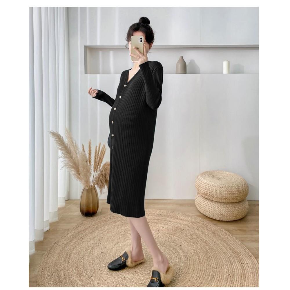 韓系 V領 毛衣裙【D7202】針織 可開扣 顯瘦 針織裙 開叉 長裙 針織毛衣