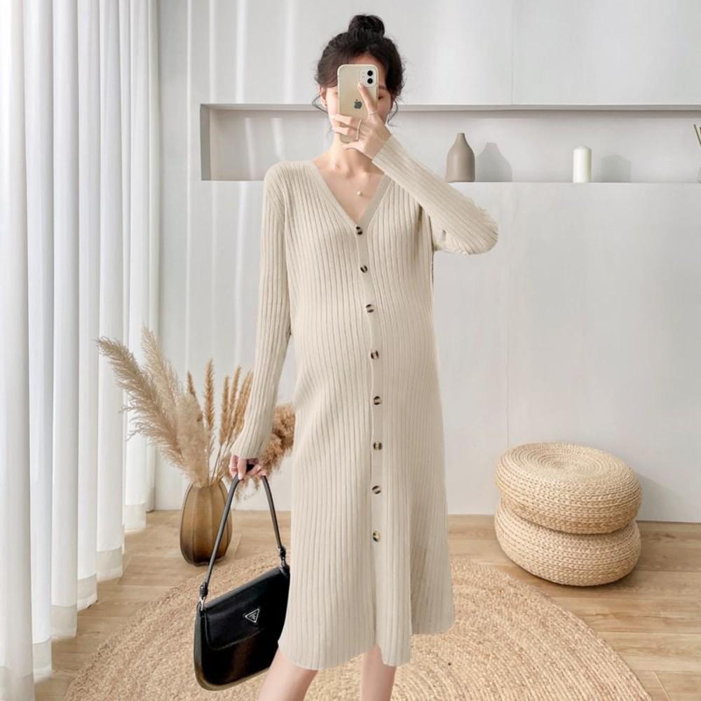 韓系 V領 毛衣裙【D7202】針織 可開扣 顯瘦 針織裙 開叉 長裙 針織毛衣 封面照片