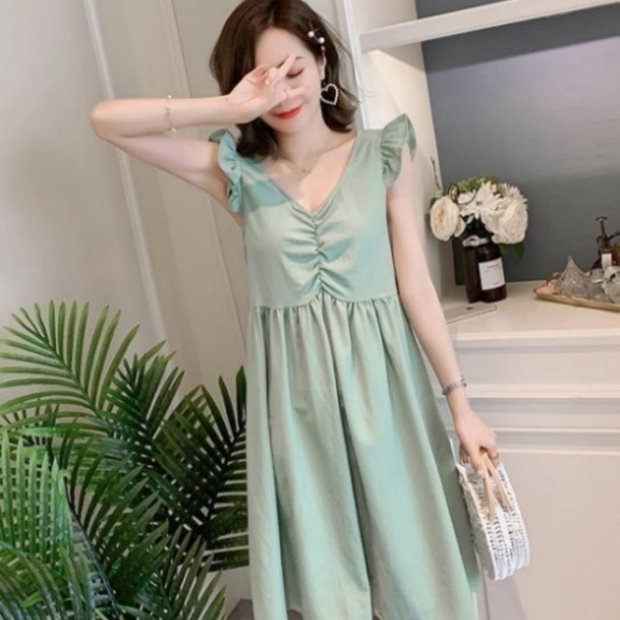 棉麻洋裝【D7212】 韓系 棉麻 無袖 純色 背後 綁帶 飛袖 V領 孕婦裝 洋裝