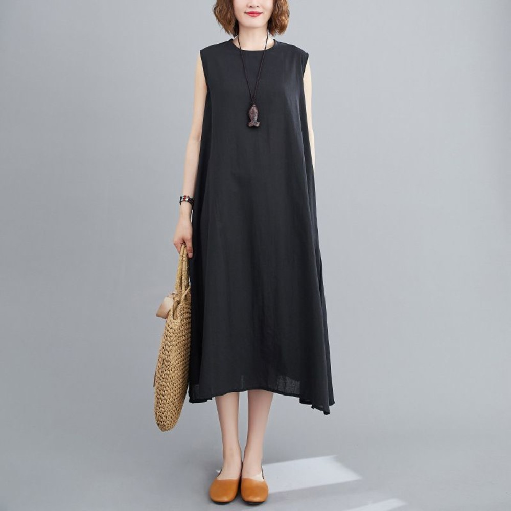 無袖 文藝 純色 連衣裙【D7217】開叉 寬鬆 綁帶 兩穿 洋裝