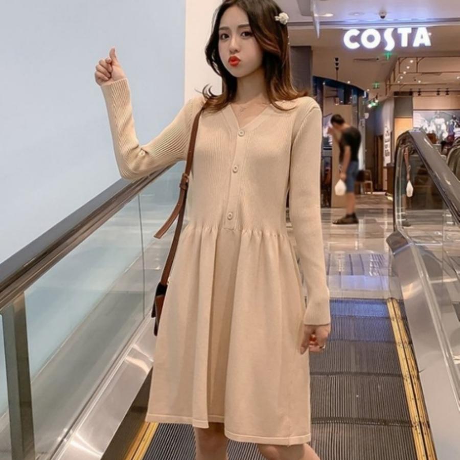 針織裙 【D7294】韓系 針織 V領 開扣 彈力 毛衣裙 連衣裙 長袖 孕婦裝 針織洋裝