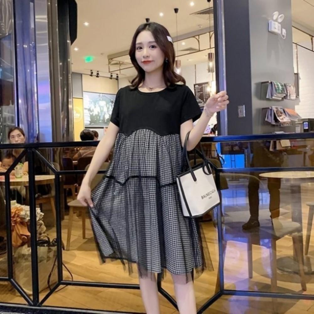 韓系格子紋短袖洋裝 【D7304】 格紋 傘狀 網紗 拼接 短袖洋裝 孕婦洋裝 孕婦裝