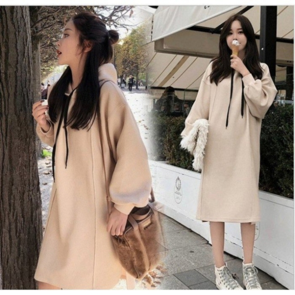 韓國洋裝 【D7382】 寬鬆 中大尺碼 長袖 連帽連衣裙 孕婦裝洋裝