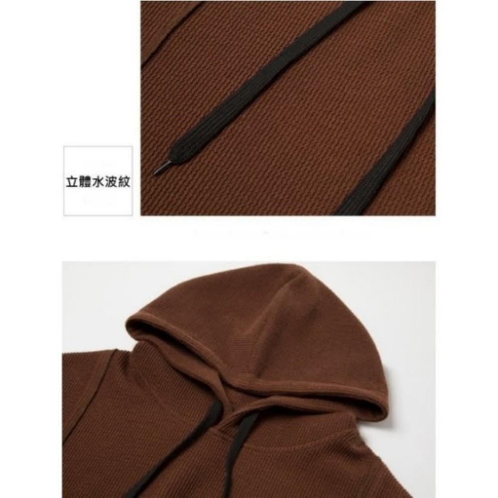 韓國洋裝 【D7382】 坑條 質感 寬鬆 中大尺碼 長袖 連帽 連身裙 孕婦裝洋裝 長版衣