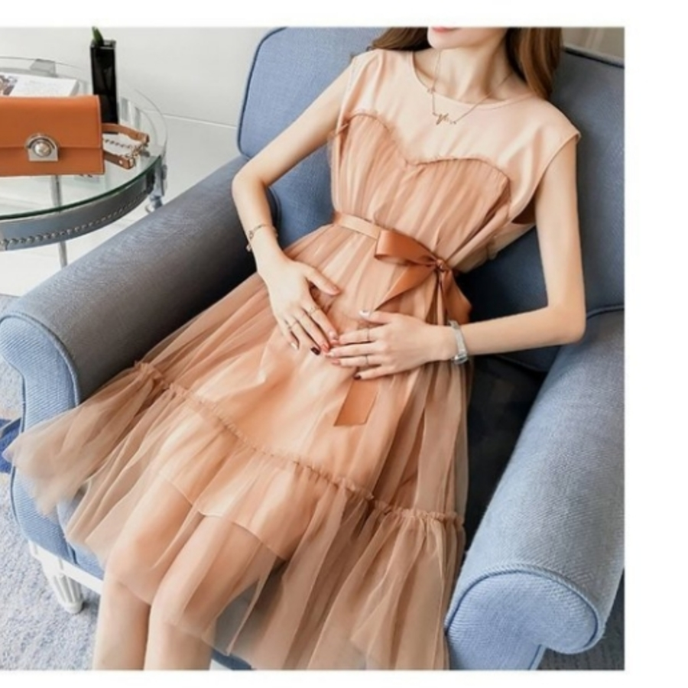 韓系洋裝 【D7411】 無袖 網紗 夢幻 小洋裝 蝴蝶結 繫帶 韓 洋裝 孕婦裝