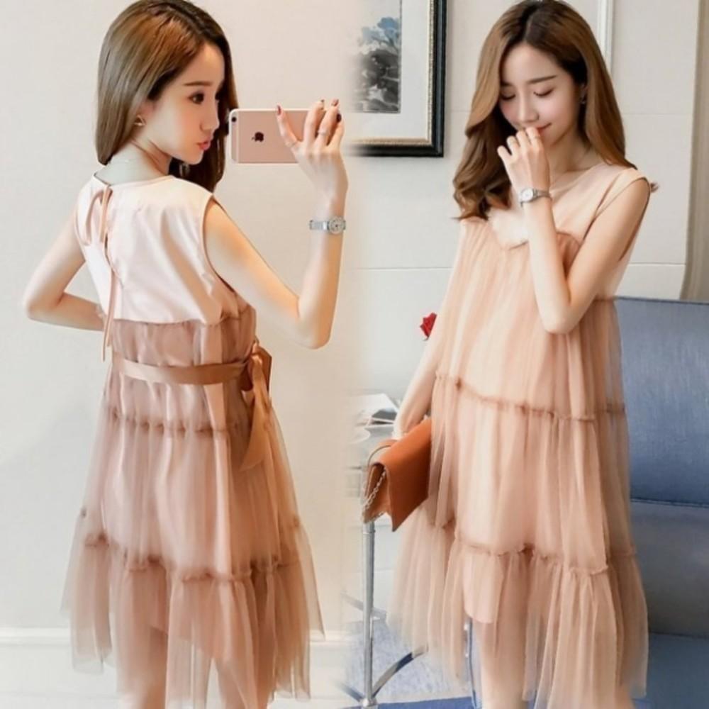 D7411-韓系洋裝 【D7411】 無袖 網紗 夢幻 小洋裝 蝴蝶結 繫帶 韓 洋裝 孕婦裝