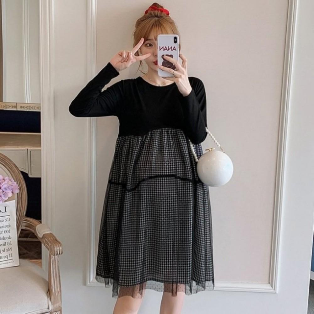 韓系格子紋長袖洋裝 【D7420】 格紋 傘狀 網紗 拼接 長袖洋裝 孕婦洋裝 孕婦裝