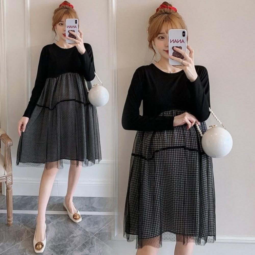 D7420-韓系格子紋長袖洋裝 【D7420】 格紋 傘狀 網紗 拼接 長袖洋裝 孕婦洋裝 孕婦裝