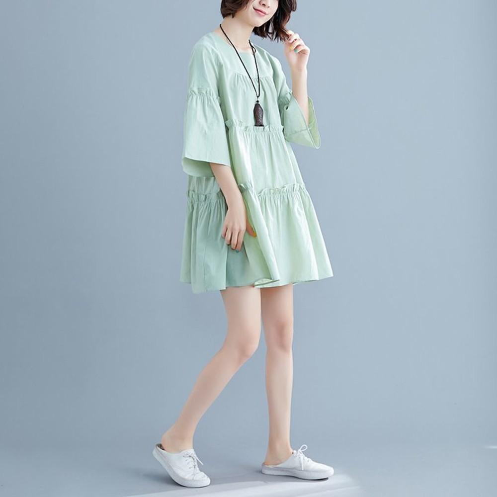 實拍 七分袖 文藝 中大尺碼 洋裝 長裙【D7570】中袖 純色 寬鬆 傘狀 喇叭袖 洋裝