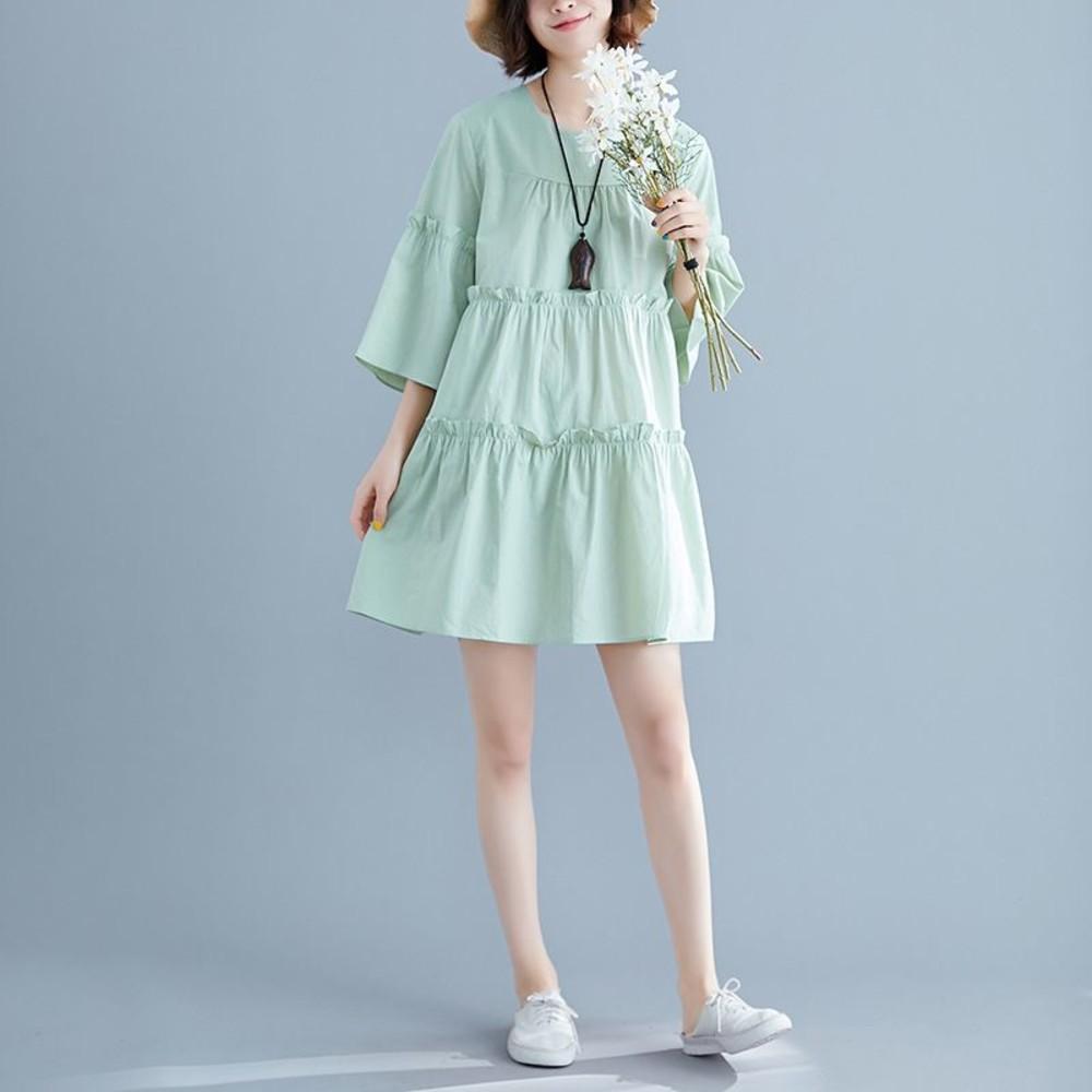 實拍 七分袖 文藝 中大尺碼 洋裝 長裙【D7570】中袖 純色 寬鬆 傘狀 喇叭袖 洋裝 封面照片