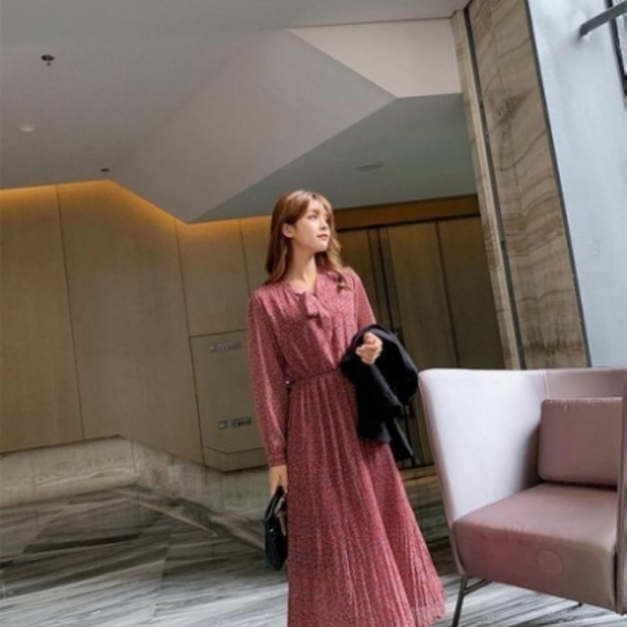碎花洋裝【D7597】 長袖 洋裝 韓 V領 蝴蝶結綁帶 收腰 顯瘦 碎花小洋裝 雪紡 女裝