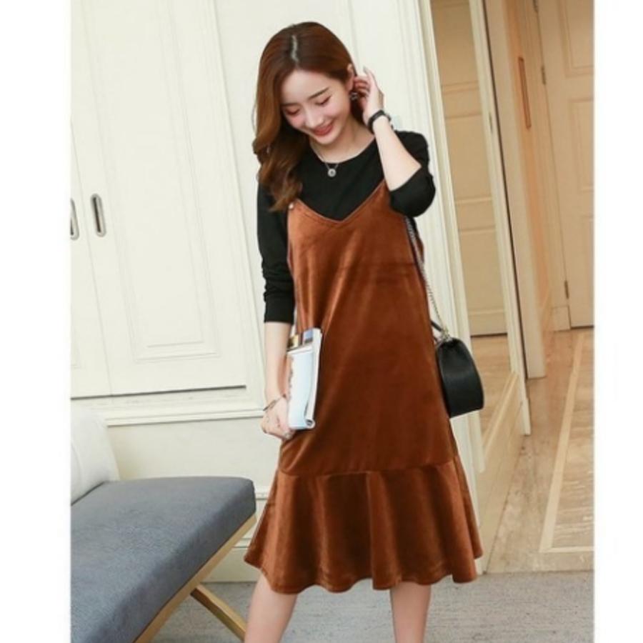 絲絨洋裝 【D7600】 魚尾 背心裙 吊帶裙 孕婦裝 絨布 波浪裙