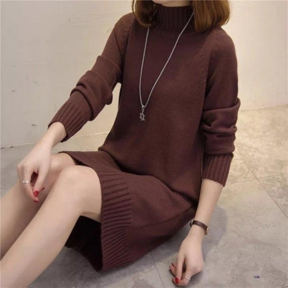 針織洋裝【D7681】 韓系 修身 親膚 針織衫 純色 長袖 毛衣 洋裝 孕婦裝 毛線裙
