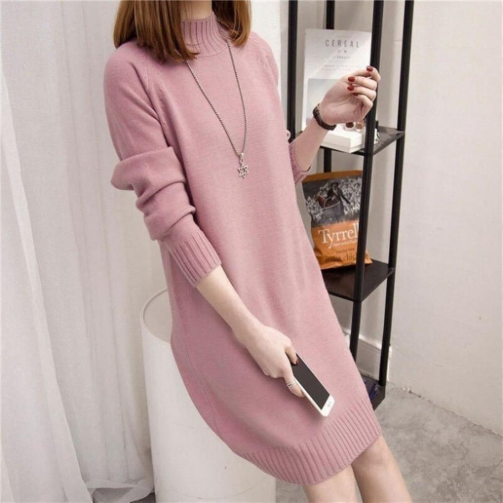 D7681-針織洋裝【D7681】 韓系 修身 親膚 針織衫 純色 長袖 毛衣 洋裝 孕婦裝 毛線裙
