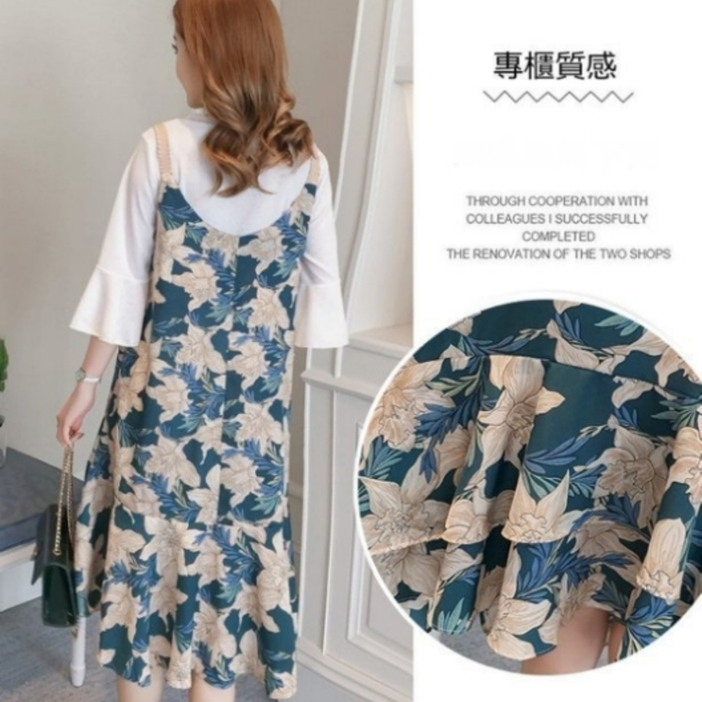 兩件式 洋裝 【D7687】 高質感 喇叭袖 雪紡 吊帶裙 孕婦裝 五分 魚尾裙