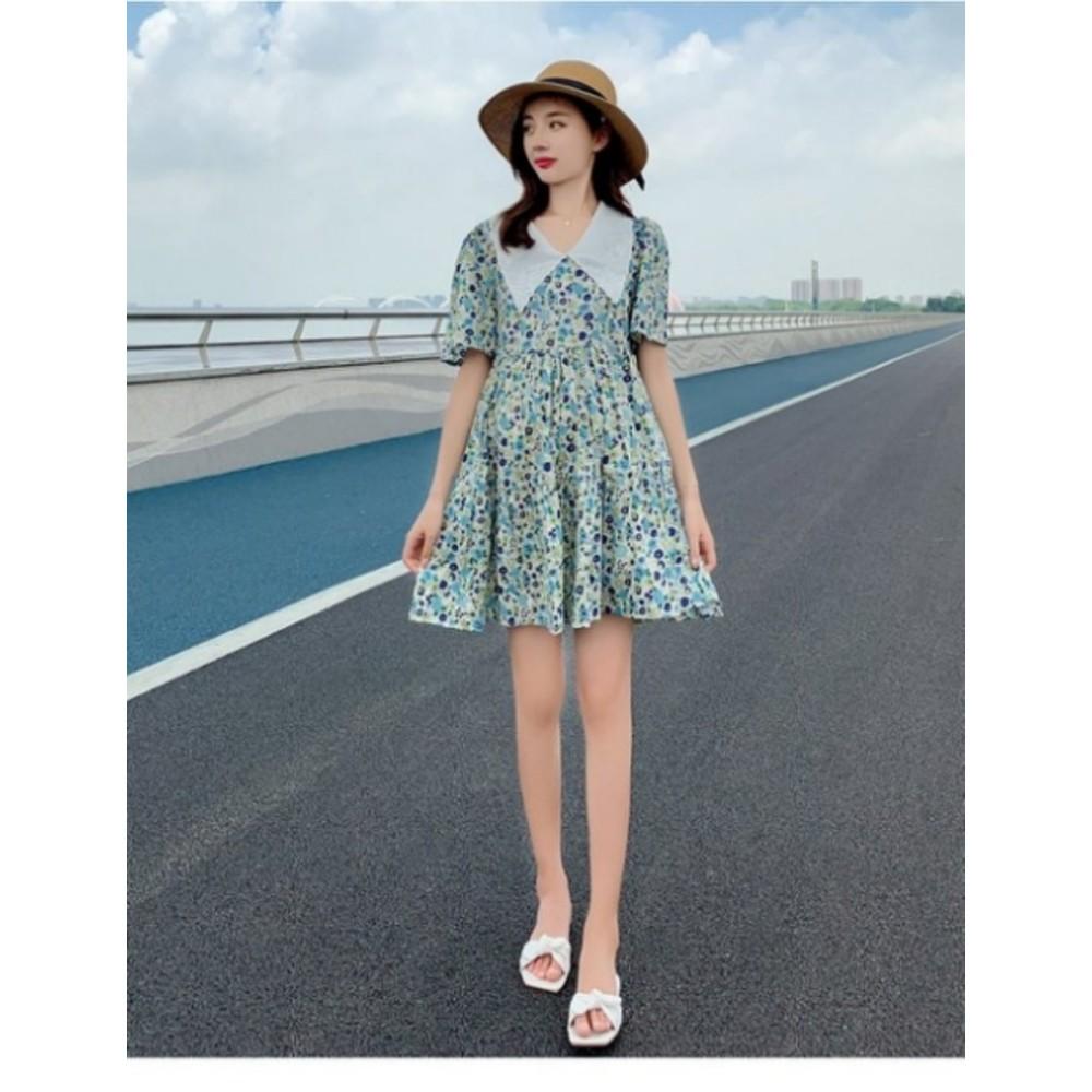 韓式 碎花洋裝 【D7854】 碎花小洋裝 短袖 短裙 孕婦裝 孕婦洋裝 洋裝