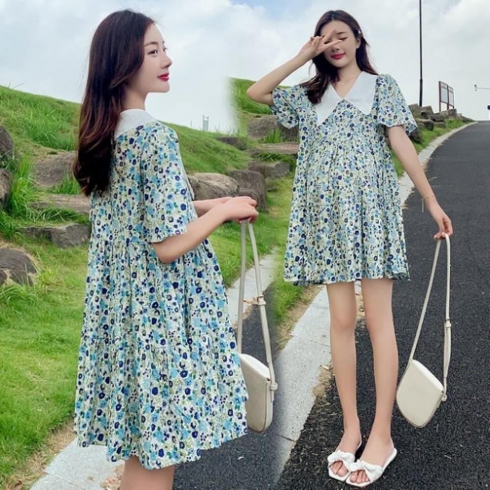 韓式 碎花洋裝 【D7854】 碎花小洋裝 短袖 短裙 孕婦裝 孕婦洋裝 洋裝 封面照片