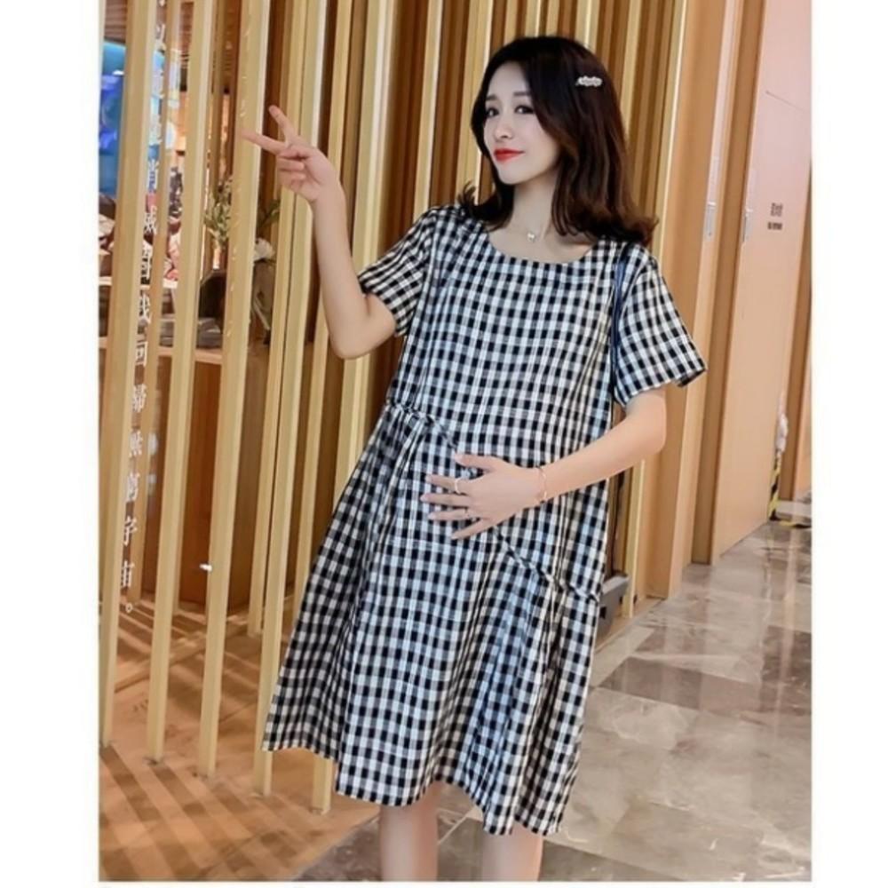 孕婦裙 【D7879】 格紋 短袖 棉麻 洋裝 孕婦裝 格子紋 孕婦洋裝