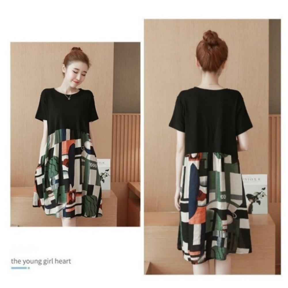 幾何圖形 洋裝 【D7883】 短袖 印花 寬鬆 傘狀 孕婦裝 文藝 孕婦洋裝