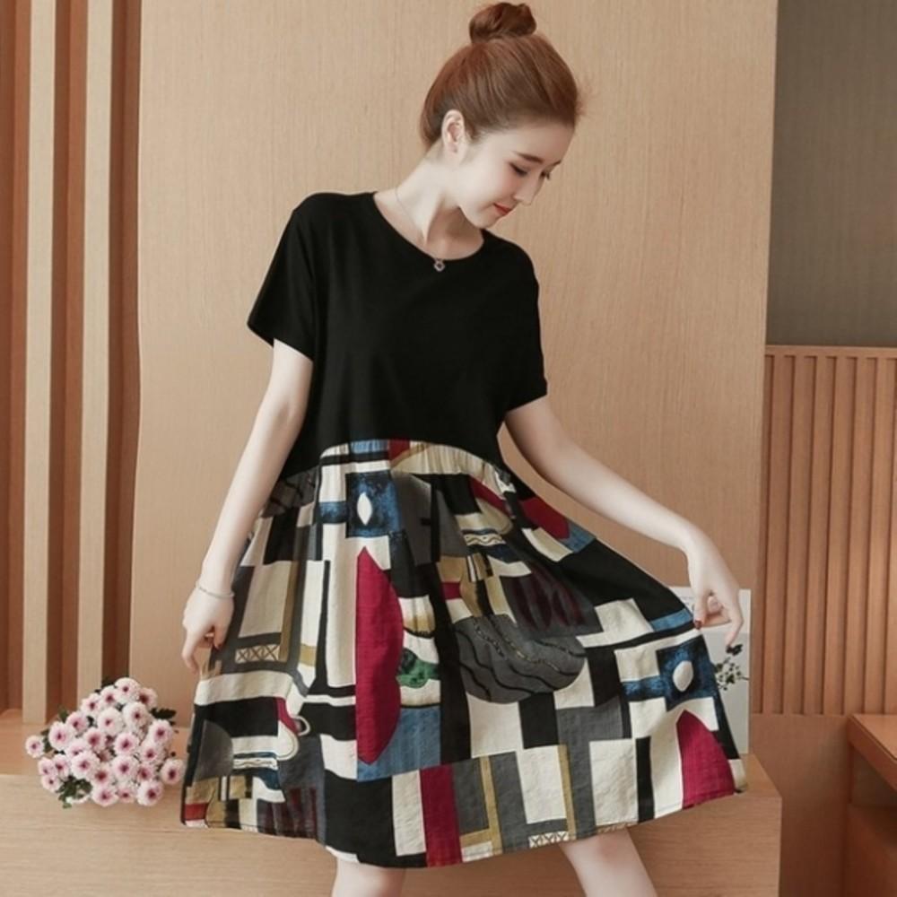 D7883-幾何圖形 洋裝 【D7883】 短袖 印花 寬鬆 傘狀 孕婦裝 文藝 孕婦洋裝