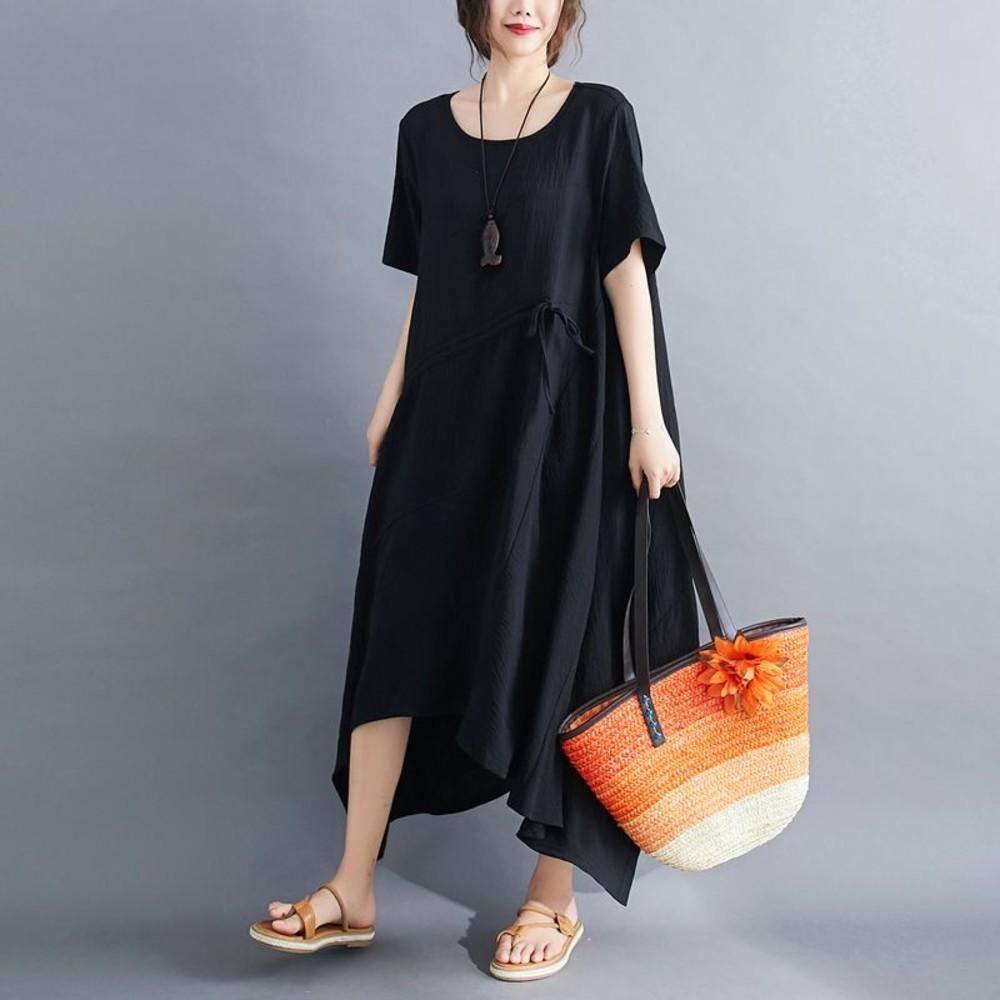 文藝 大碼 短袖 洋裝【D7898】實拍 不規則 長裙 連衣裙 加大尺碼 過膝 長洋裝