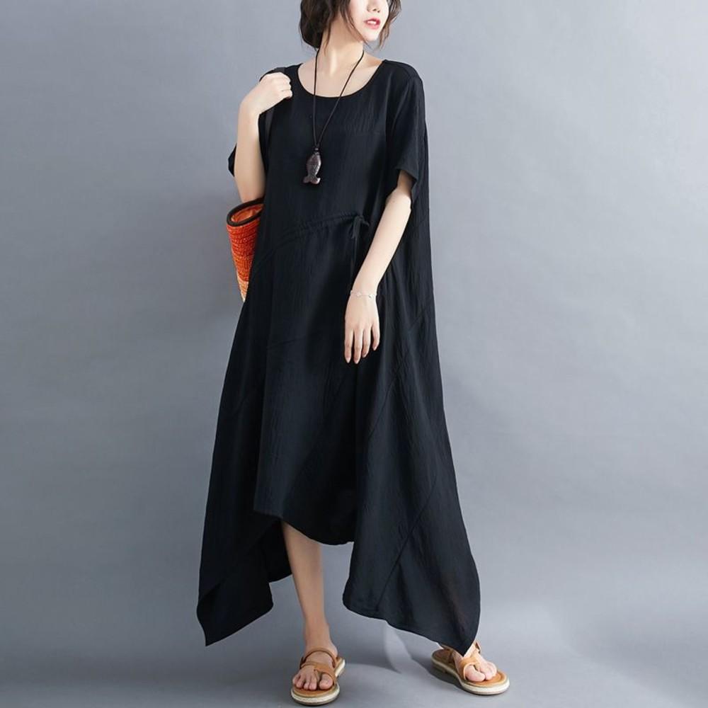 D7898-文藝 大碼 短袖 洋裝【D7898】實拍 不規則 長裙 連衣裙 加大尺碼 過膝 長洋裝