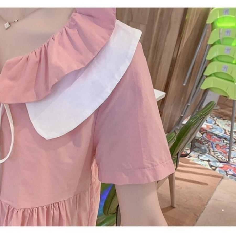 法系娃娃領洋裝 【D7928】 短袖 荷葉 繫帶 花邊領 娃娃裙 孕婦洋裝 孕婦裝