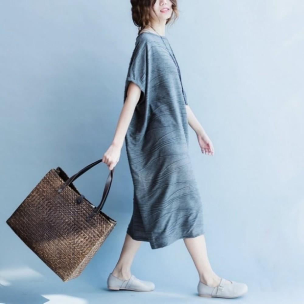 韓版長裙 【D7951YB】 簡約 寬鬆 短袖 長裙 孕婦裝 孕婦長洋裝 孕婦 加大尺碼