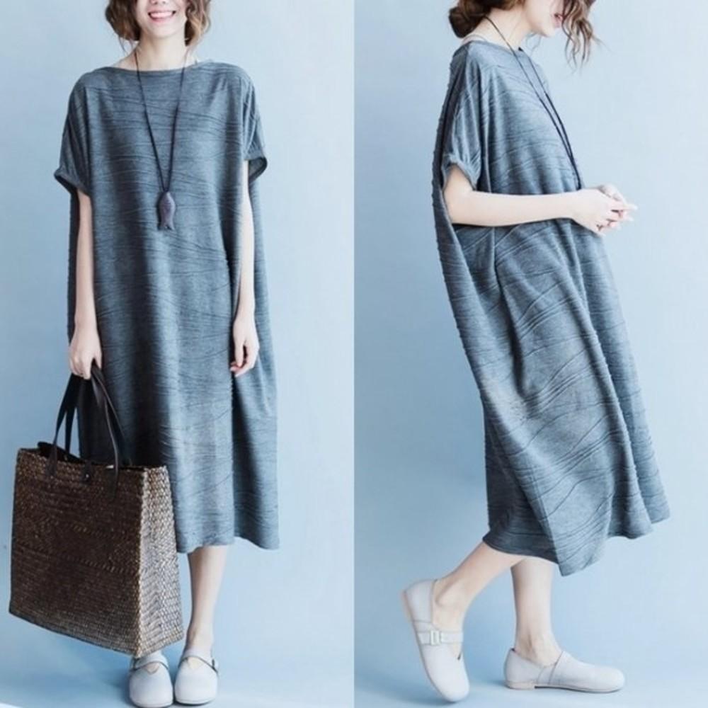 韓版長裙 【D7951YB】 簡約 寬鬆 短袖 長裙 孕婦裝 孕婦長洋裝 孕婦 加大尺碼 封面照片