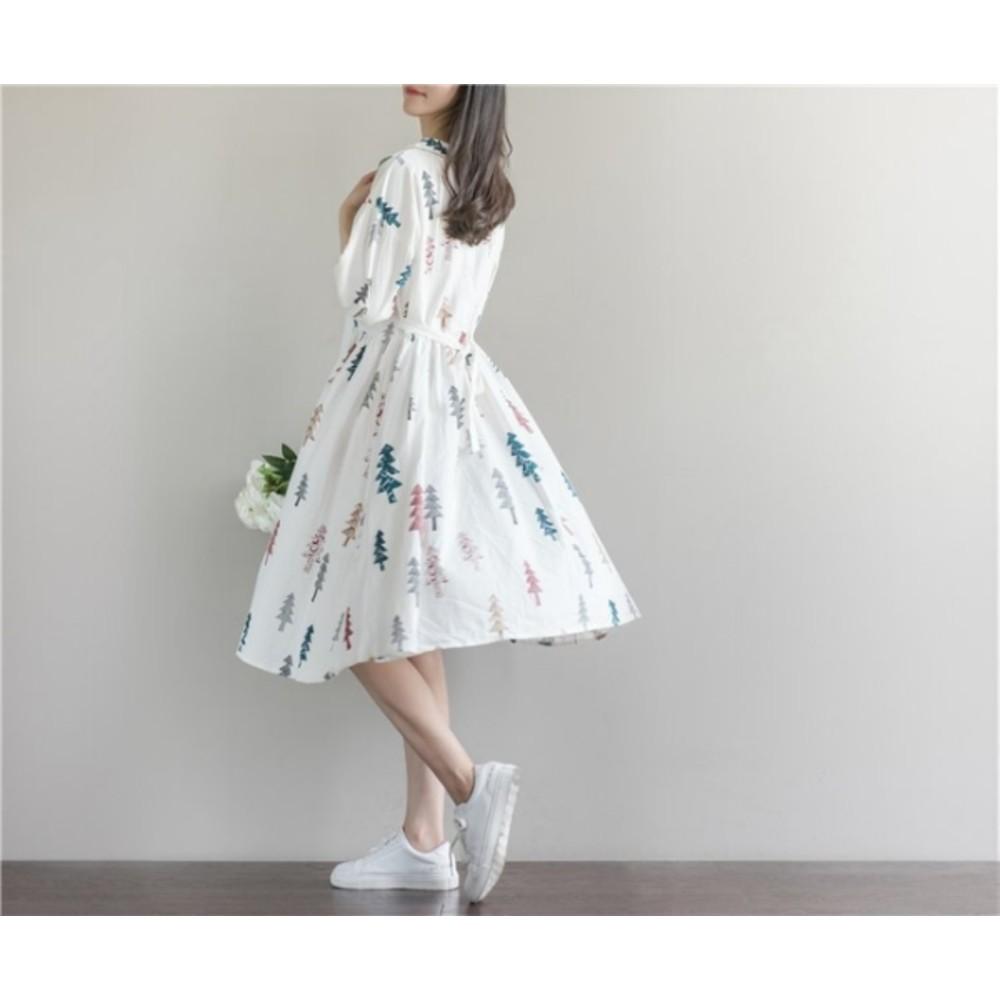 童趣洋裝 【D7981】 娃娃領 聖誕樹 五分袖 棉麻 加大 寬鬆洋裝 落肩 孕婦裝 孕婦裙