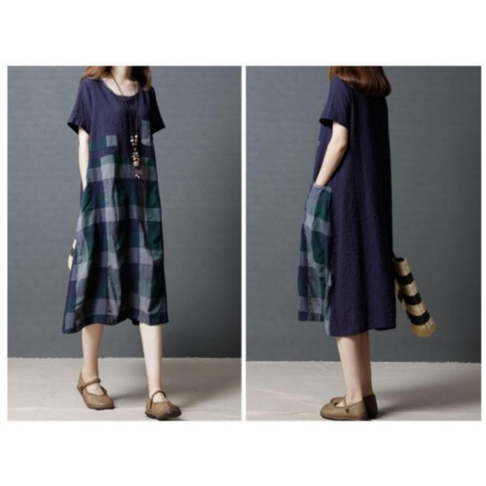 簡約洋裝 【D8106】 格紋 腰圍 短袖 過膝裙 棉麻 孕婦裝 亞麻 中大尺碼 孕婦洋裝