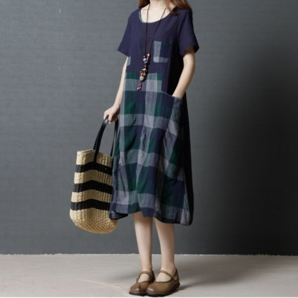 D8106-簡約洋裝 【D8106】 格紋 腰圍 短袖 過膝裙 棉麻 孕婦裝 亞麻 中大尺碼 孕婦洋裝
