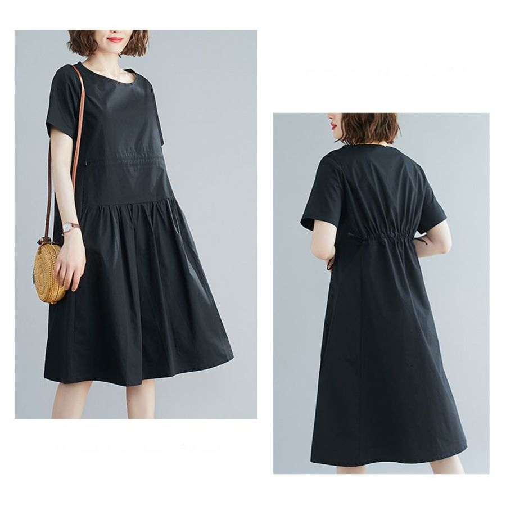純色 短袖 寬鬆 連衣裙 【D8109】文藝 收腰 抽繩  洋裝