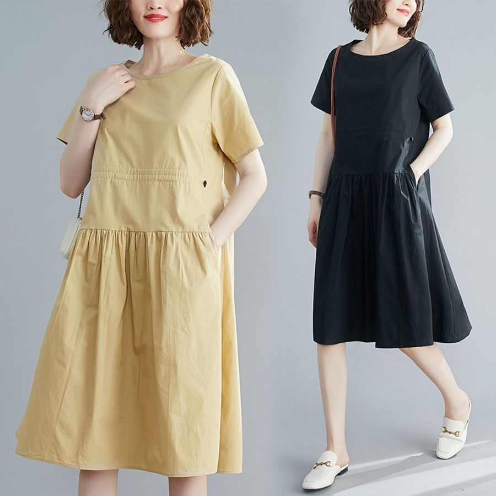 純色 短袖 寬鬆 連衣裙 【D8109】文藝 收腰 抽繩  洋裝 封面照片