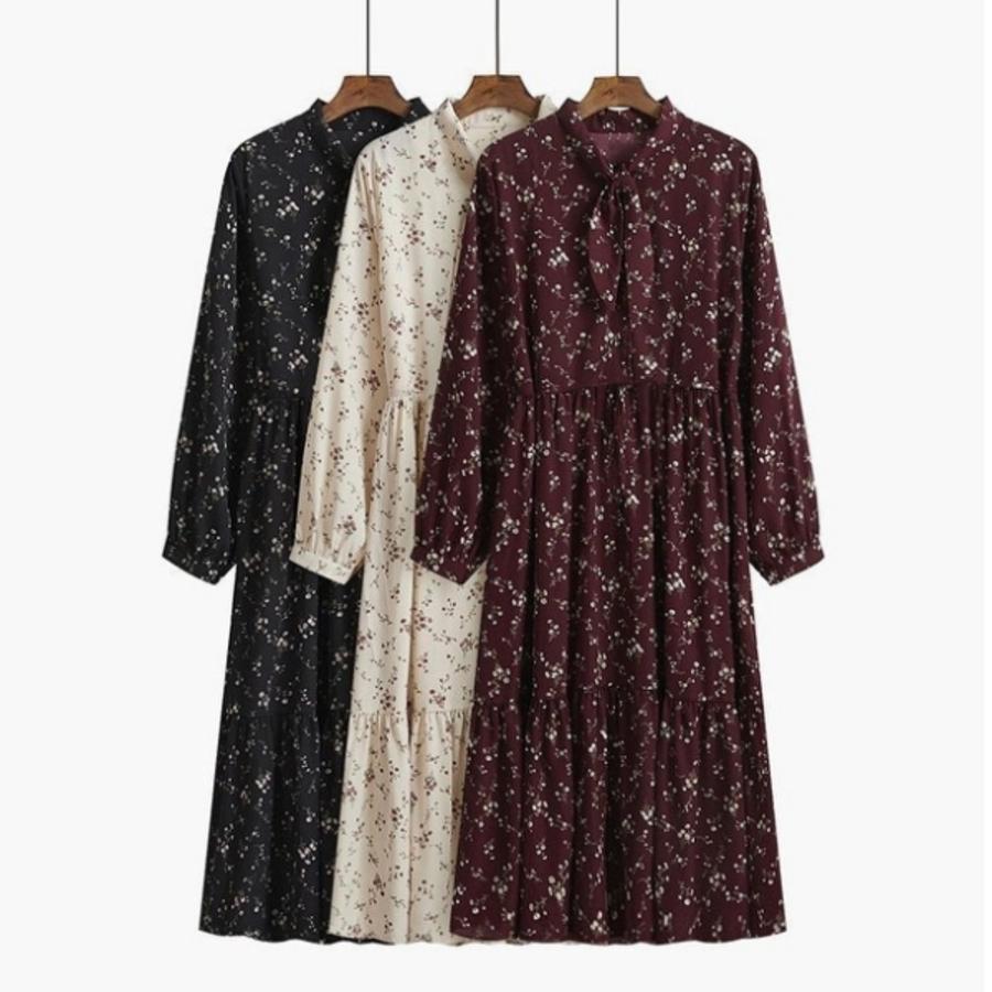 D8110-碎花連衣裙【D8110】長袖 春秋款 收腰 法式 復古 百搭 顯瘦 長裙 連身裙 A字裙