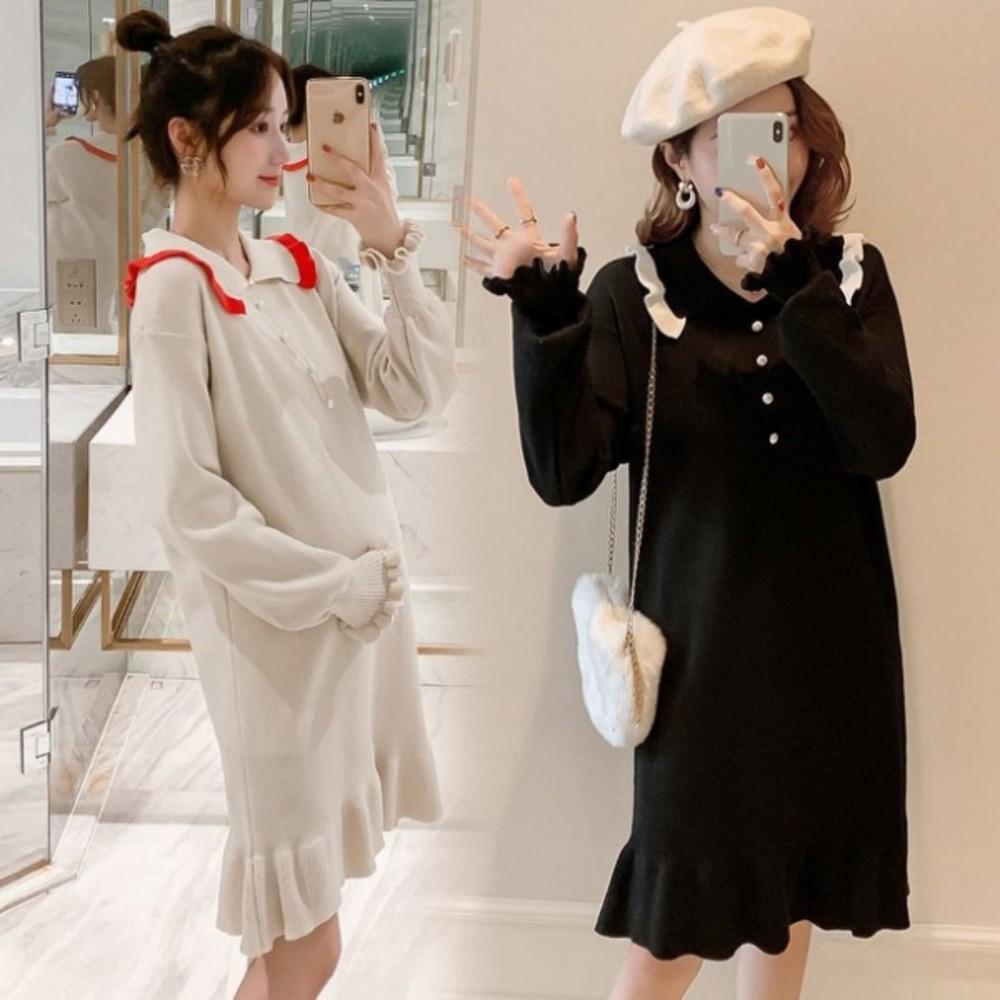 韓系針織 魚尾裙 【D8113】M-XXL 孕婦 翻領 長袖 連衣裙 魚尾洋裝 荷葉洋裝 針織裙