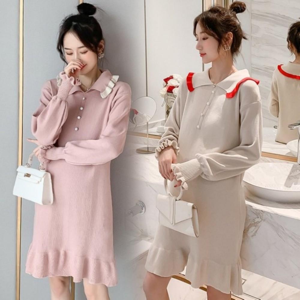 韓系針織 魚尾裙 【D8113】M-XXL 孕婦 翻領 長袖 連衣裙 魚尾洋裝 荷葉洋裝 針織裙 封面照片