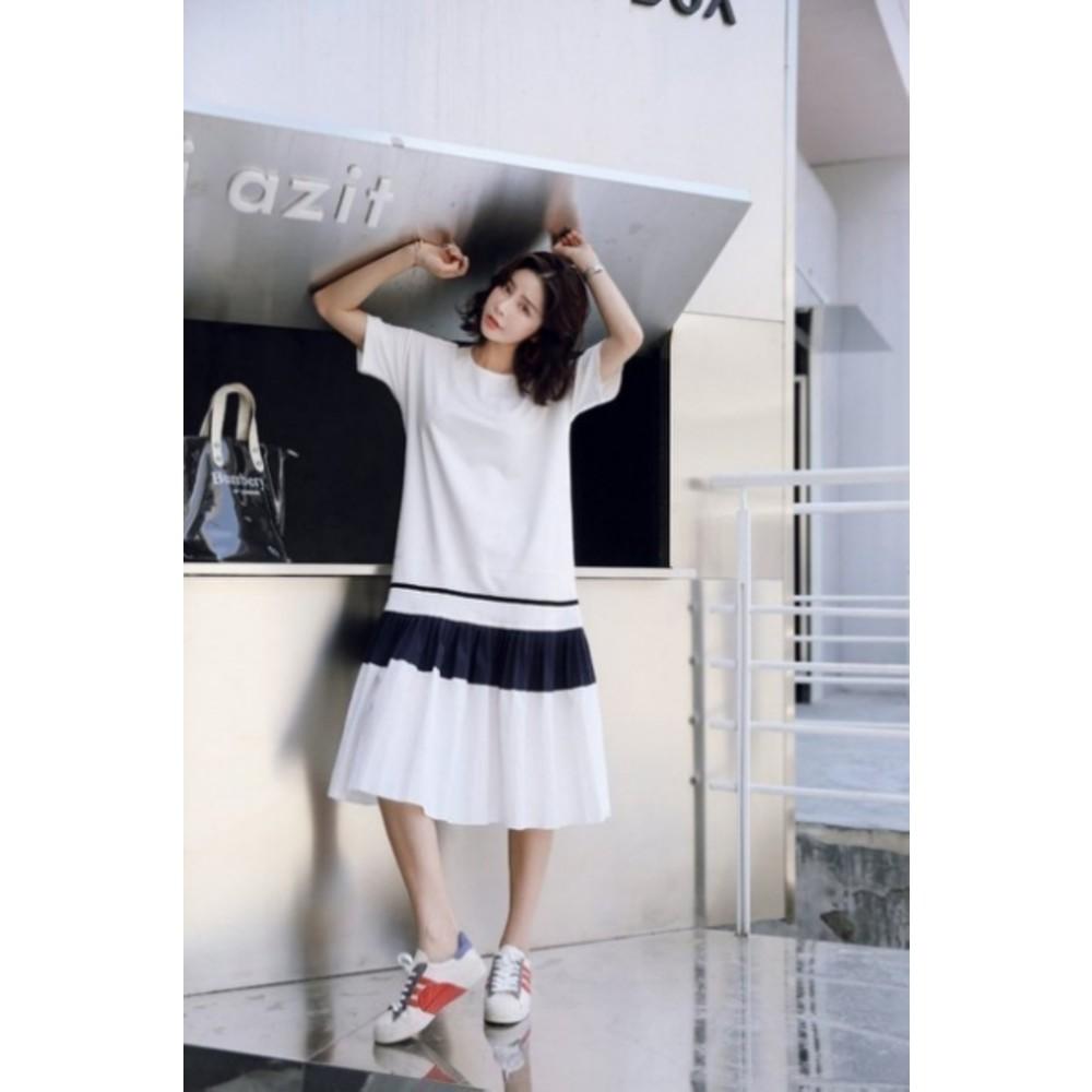 韓系撞色 洋裝 【D8115】長版 純棉 魚尾裙 時尚 短袖 長裙 連身裙 孕婦裝 魚尾洋裝