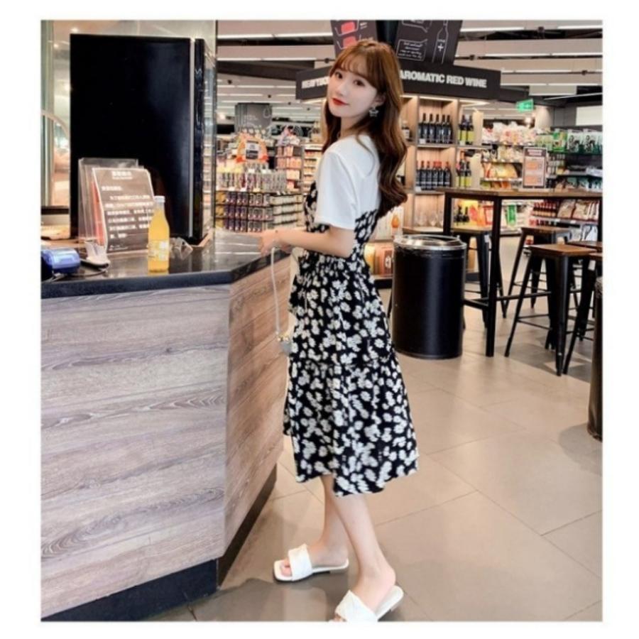 碎花 雛菊 假兩件 拼接 顯瘦洋裝 【D8124】短袖 印花 碎花洋裝 連身裙 洋裝