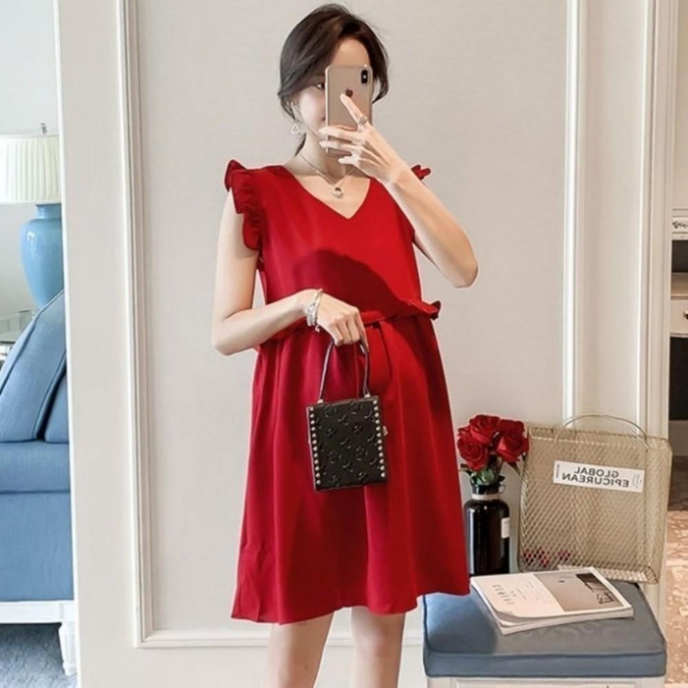 小香風荷葉洋裝【D8131】 韓系 無袖 純色 飛袖 V領 孕婦裝 洋裝 實拍