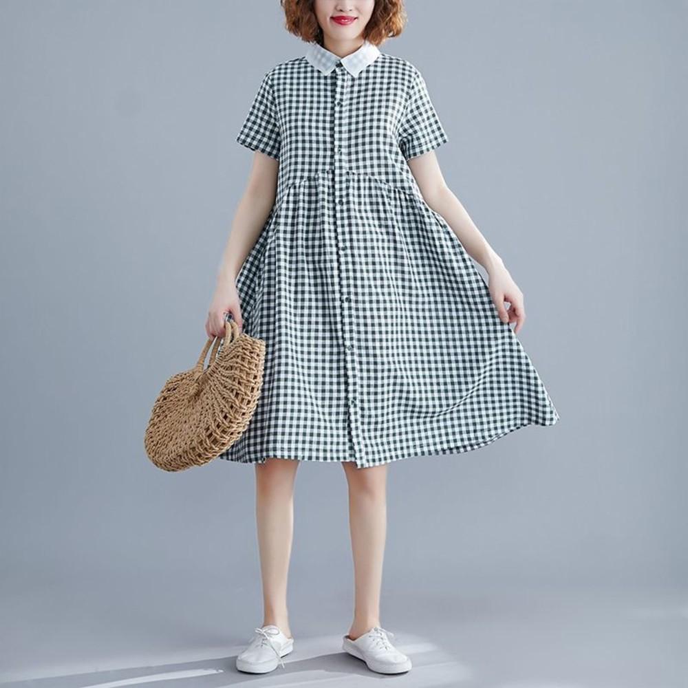 格子 短袖 寬鬆 連衣裙 【D8148】翻領 文藝 格紋 實拍 開扣  洋裝
