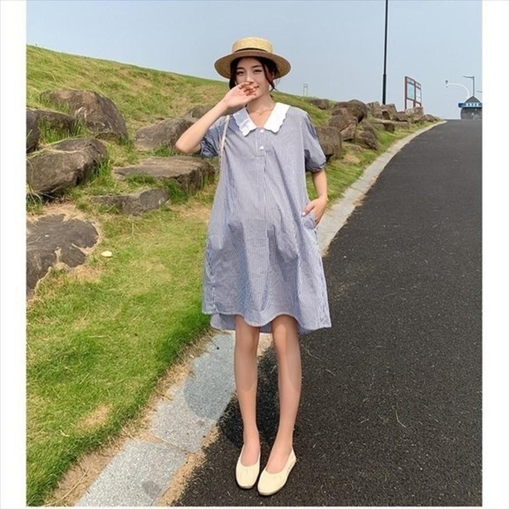 韓系 翻領 條紋洋裝 【D8206】 開扣 娃娃領 泡泡袖 短袖 襯衫洋裝 孕婦裝 洋裝