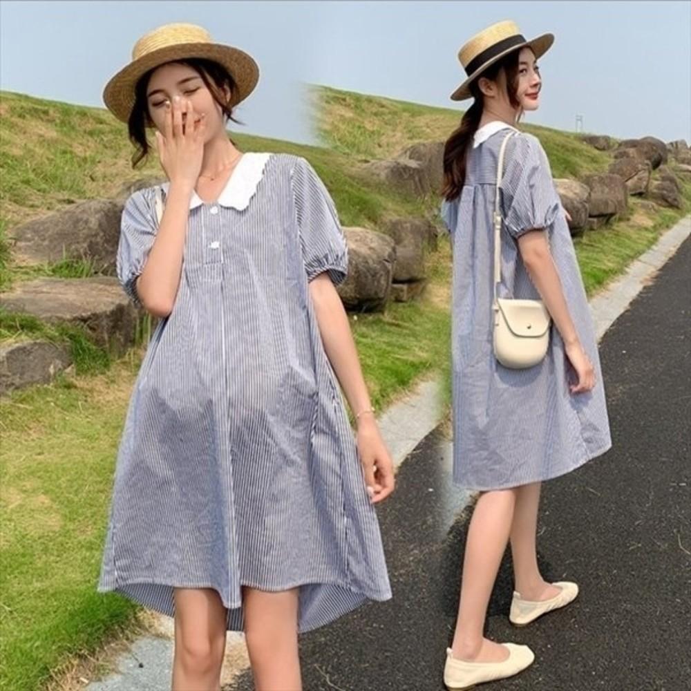 D8206-韓系 翻領 條紋洋裝 【D8206】 開扣 娃娃領 泡泡袖 短袖 襯衫洋裝 孕婦裝 洋裝