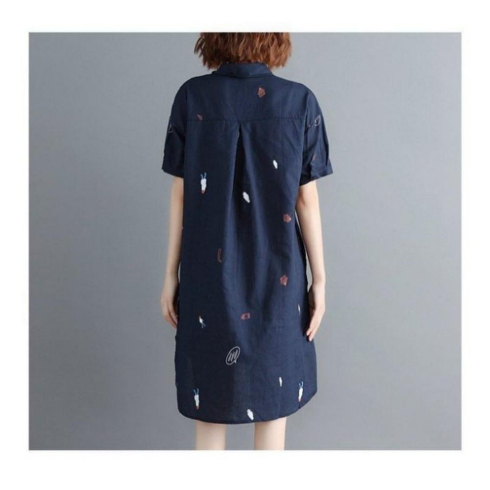 襯衫洋裝 【D8213】 童趣 印花 文藝 襯衫 長版洋裝 連身裙 襯衫領 孕婦裝