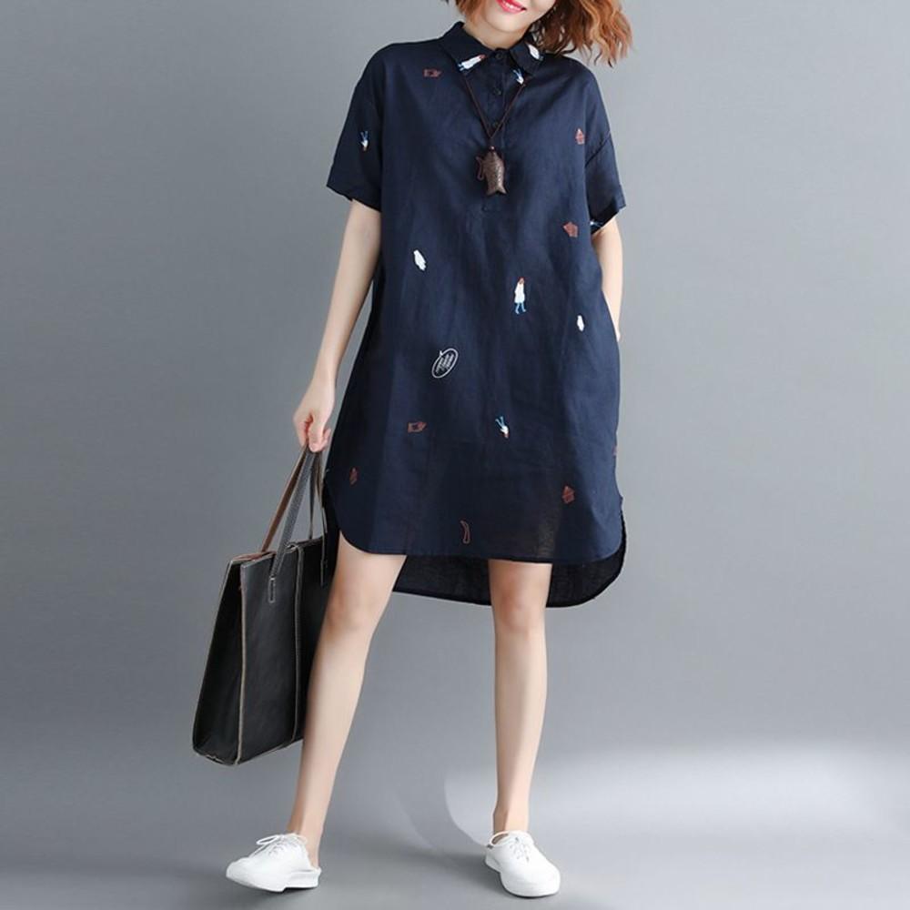 襯衫洋裝 【D8213】 童趣 印花 文藝 襯衫 長版洋裝 連身裙 襯衫領 孕婦裝 封面照片